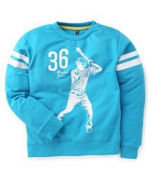 Ollypop Full Sleeves T-Shirt With 36 Perfect Game Print - Teal Blue