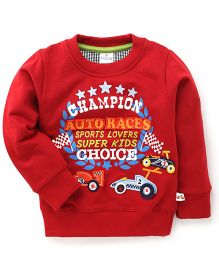 Ollypop Full Sleeves T-Shirt With Champion Auto Races Patches - Red