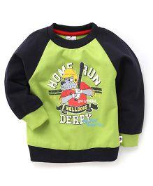 Ollypop Full Sleeves T-Shirt With Home Run Bull Dog Print - Light Green & Navy