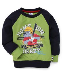 Ollypop Full Sleeves T-Shirt With Home Run Bull Dog Print - Green & Black