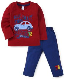 Paaple Full Sleeves T-Shirt And Bottoms Car Print - Maroon And Navy Blue