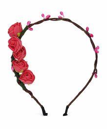 Vitamins Hair Band Floral Motifs - Brown Pink