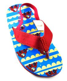 Pugs Flapper Flip Flop For Little Men With Cars Print - Red
