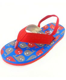 Pugs Flapper Flip Flop For Little Men With Whales Print - Red