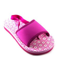 Pugs Flapper Sandal For Your Little Shoeaholic With Pretty Flowers Print - Pink
