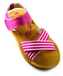 Pugs Crisscross Print Sandals - Pink