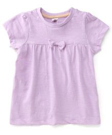 Zero Plain Solid Color Frock With Bow Applique - Light Purple