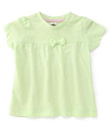 Zero Plain Solid Color Frock With Bow Applique - Light Green