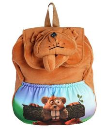 Hello Toys Bull Dog Flap Soft Bag Brown - 15 Inches