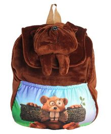 Hello Toys Bull Dog Flap Soft Bag Dark Brown - 15 Inches