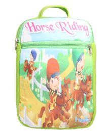 Hello Toys Soft Bag Horse Riding Print Green - 15 Inches