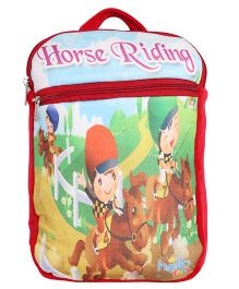 Hello Toys Soft Bag Horse Riding Print Red - 15 Inches