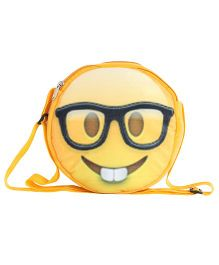Hello Toys Soft Sling Bag Nerd Smiley Print Yellow - 8 Inches