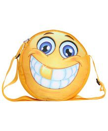Hello Toys Soft Sling Bag Grinning Smiley Print Yellow - 8 Inches