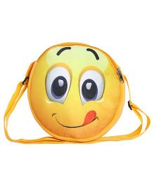 Hello Toys Soft Sling Bag Yummy Smiley Print Yellow - 8 Inches