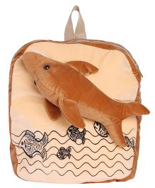 Hello Toys Soft Bag With Dolphine Soft Toy Brown - 14 Inches