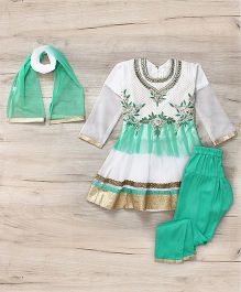 Mukaam Indian Anarkali Set With Embroidery - White & Turquoise