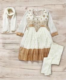 Mukaam Indian Anarkali Set With Embroidery - White & Gold