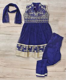 Mukaam Indian Anarkali Set With Embroidery - Blue