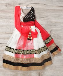 Mukaam Indian Wedding Wear Gown With Handwork - OffWhite & Tomato Red