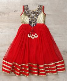 Mukaam Traditional Gown For Big Fat Wedding - Red & Gold