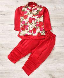 Mukaam Floral Kurta Pajama With Jacket - Red