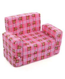 Lovely Sofa Cum Bed Teddy Print - Pink