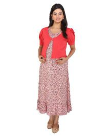 MomToBe Short Sleeves Floral Maternity Dress With Shrug - Pink