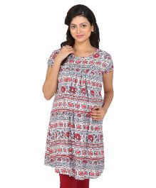 MomToBe Short Sleeves Tunic Top Floral Print - Grey & Red