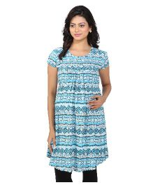 MomToBe Short Sleeves Tunic Top Multiprint - Turquoise Blue