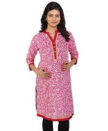 MomToBe Three Fourth Sleeves Maternity Kurti Allover Print - Pink