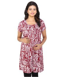 Momtobe Short Sleeves Maternity Kurti Multiprint - Maroon And White