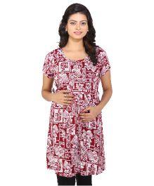 Momtobe Short Sleeves Maternity Kurti Multiprint - Maroon And White