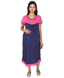 MomToBe Short Sleeves Maternity Dress Floral Print - Blue Pink