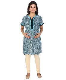 MomToBe Short Sleeves Allover Floral Print Maternity Kurti - Blue & Black