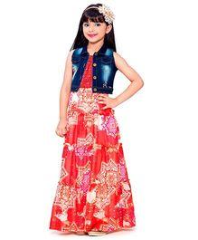 Tiny Baby Layered Gown With Denim Sleeveless Jacket - Tomato