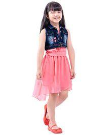 Tiny Baby Knee Length Tail Cut Dress With Denim Jacket - Peach