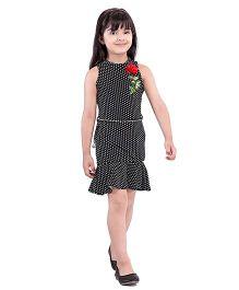 Tiny Baby Polka Dot Knee Length Dress With Belt - Black