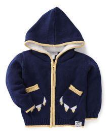 Pumpkin Patch Hooded Sweater - Blue