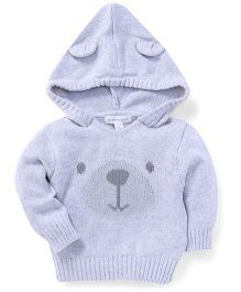 Pumpkin Patch Knit Hooded Sweater - Light Grey
