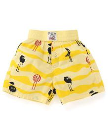 Palm Tree Casual Shorts Fruit Print - Yellow