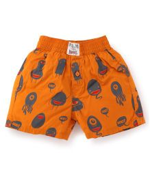 Palm Tree Casual Shorts Monster Print - Orange