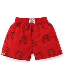 Palm Tree Casual Shorts Car Print - Red