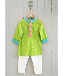 Frangipani Kids Boys Kurta & Pyjama Set - Green & White
