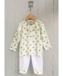 Frangipani Kids Turtle Print Full Sleeves Nightwear Set - White