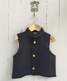 Frangipani Kids Jacket With Front Button - Black
