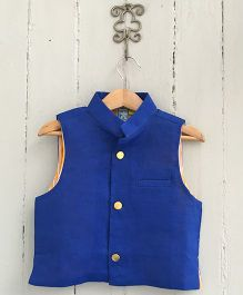 Frangipani Kids Jacket With Front Button - Royal Blue