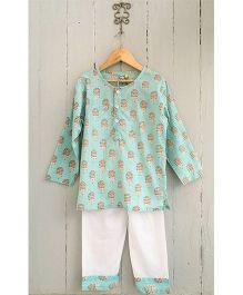 Frangipani Kids Porcupine Print Full Sleeves Nightwear Set - Sea Green & White
