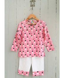 Frangipani Kids Girl Heart Print Full Sleeves Nightwear Set - Pink & White