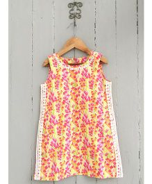 Frangipani Kids Wild Flower Print Dress - Multicolour